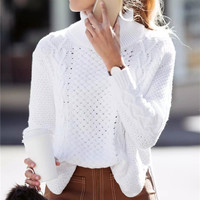 Fashion Turtleneck Hollow knit Sweater