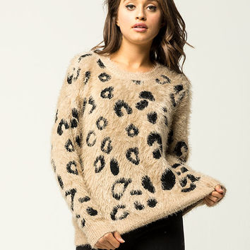 WOVEN HEART Furry Animal Print Womens Sweater | Pullovers