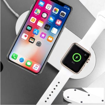 2in1 Qi Wireless Charger Pad Charging Station For Apple Watch iPhone X Samsung