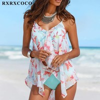 Women's Classy Two Piece Tankini Swimsuit With Cover Up