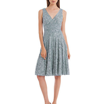 Js Collections Sequined Lace Fit and Flare Dress