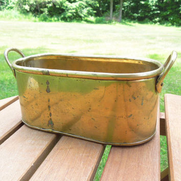 Vintage solid brass planter - Oblong brass bowl brass vessel with double handles - Made in India
