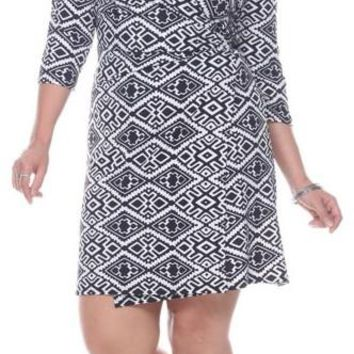 Plus Size Mariah Trellis Print Wrap Dress Short Cover Up 3/4 Sleeves