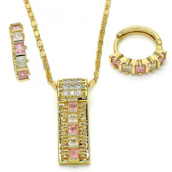 Gold Layered Earring and Pendant Adult Set, Greek Key Design, with Cubic Zirconia, Golden Tone