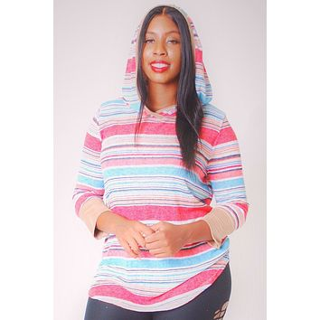 Womens Plus Size Edgy Casual Clothing Striped, Hip Length Hoodie Top Plus Size Styles And Trends