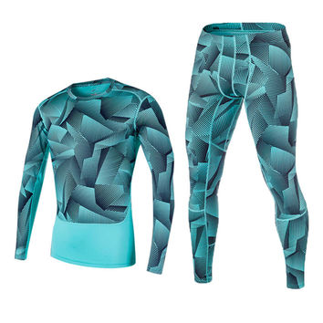 2017 Newest Compression Running Tight Set Men Basketball Football Training Underwear Sport Yoga Fitness Joggers Shirts+Leggings