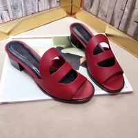 H Hermes Women Trending Leather Casual Shoes Flat Sandal Slipper Heels Red