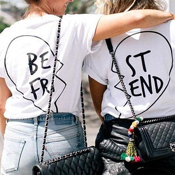 DCCK7XP Summer Best Friends T Shirt Print Letter BE FRI ST END Women T-shirt Fashion Short Sleeve Women Clothing White Black