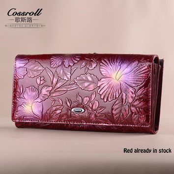 Cossroll Brand 2017 Vintage Genuine Leather Purse New European Fashion Female Long Embossing Flower Hasp Wallet for Women