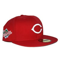 New Era 59Fifty Cincinnati Reds 1990 World Series Sidepatch Grey Bottom Fitted In Red 71/4