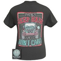 Girlie Girl Originals Jeep Hair And Don't Care Summer Charcoal Bright T Shirt