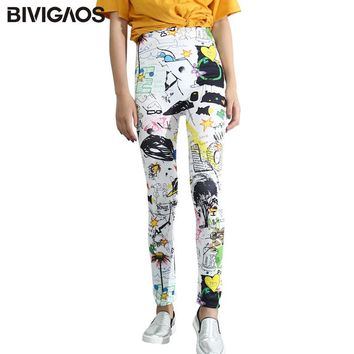 Colorized Graffiti Flower Printing Punk Rock Wihte Leggings