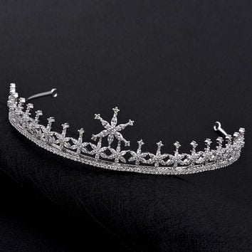 2016 Winter Trendy Full Top Shining CZ Small Snowflake Shape tiaras and crowns bridal hair accessories For Weddings Fine Jewelry