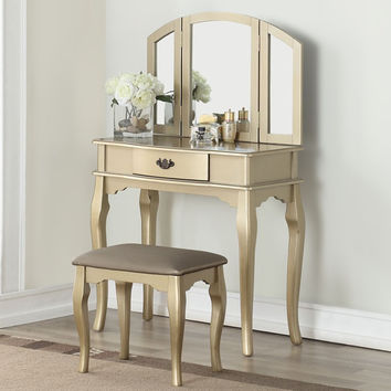 Poundex F4070 3 pc champagne finish wood make up bedroom vanity set with curved legs stool and tri fold mirror