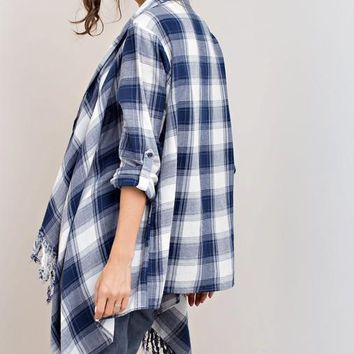 Blue Plaid Navy Cardigan