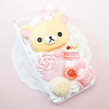 MADE TO ORDER Kuma Bear Kawaii Pink Cake Sweets Whipped Cream Handmade Custom iPhone Samsung Decoden Case