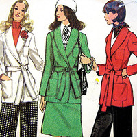 1970s Wrap Jacket Pattern Skirt, Pants Misses size 12 Front Wrap Jacket, Skirt and Pants