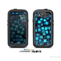 The Neon Blue Abstract Cubes Skin For The Samsung Galaxy S3 LifeProof Case