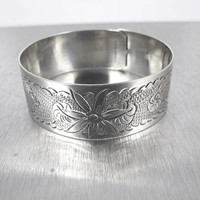 Victorian Engraved Sterling Silver Bangle Bracelet, Etched Floral Cuff Slide Buckle, 1900s Antique Aesthetic Jewelry