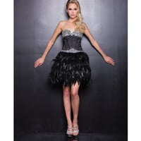 2013 Prom Dresses - Black Feathered Short Prom Dress - Unique Vintage - Prom dresses, retro dresses, retro swimsuits.