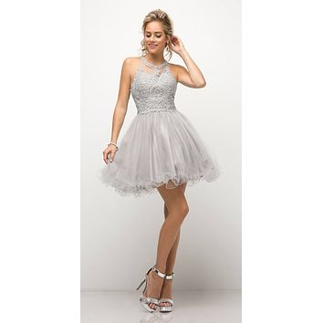 Appliqued Bodice Halter Homecoming Dress Silver