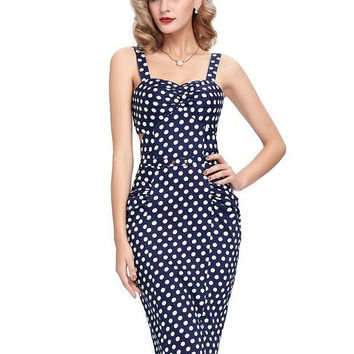 Womens sexy Dresses party night Club dress Summer beach Bodycon Plus Size 50s Vintage Ladies Clothing Red Pencil Polka Dot Dress