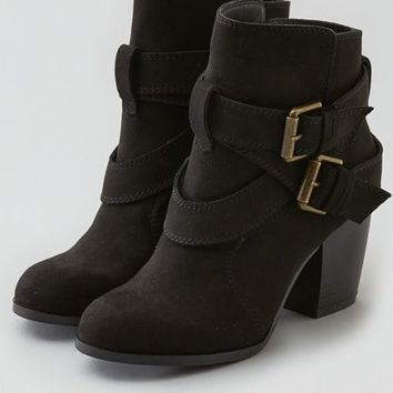 AEO Women's Double Buckle Heeled Bootie