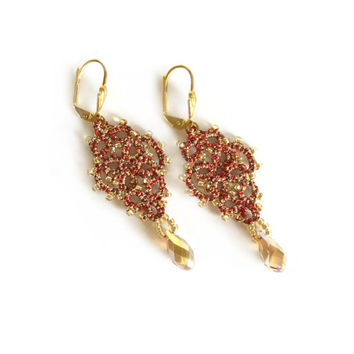 Gold , Red Metallic Dangle Earrings , Beaded Tatted Lace - Prom Jewelry - Evening Wear Jewellery - Mina