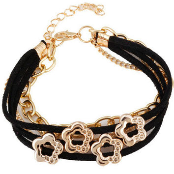 Floral Chain Faux Leather Bracelet