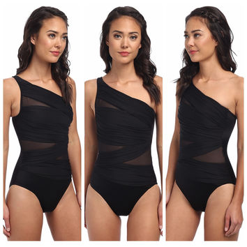 Mesh Oblique Shoulder Swimsuit