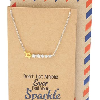 Pauline Stand Out Necklace with 6 Stars Pendant for Women, comes with Inspirational Quote