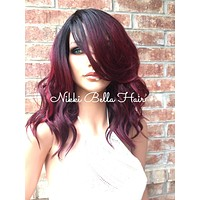 """Beach Waves Human Hair Blend Multi Parting Front Lace Wig 10"""" - Janet"""