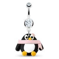 Clay Peguin Belly Button Ring Dangle