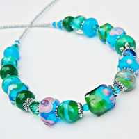 WaterLilies Lampwork necklace, bohemian necklace, turquoise necklace, glass bead necklace, romantic necklace, classic, lampwork jewelry,