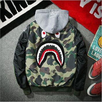 Bape Aape Shark 2017 Fall / Winter MA1 Pilot Shark Pattern Warm Baseball