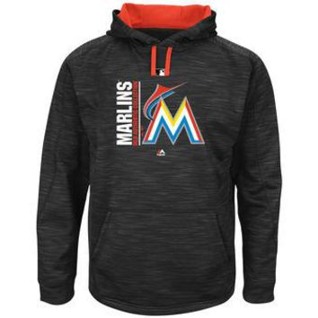 Miami Marlins Majestic MLB Black Ultra Streak Pullover Hoodie