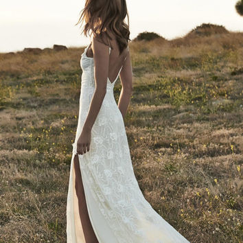 SALE Open Back Summer Lace Beach Wedding Dresses with Slits Boho Bridal Gowns