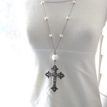 Long vintage cross necklace long pearl necklace oxidized sterling necklace boho spiritual necklace long boho necklace Art Nouveau cross