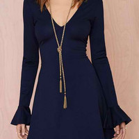 Blue Long Flare Sleeve V-Neck Dress