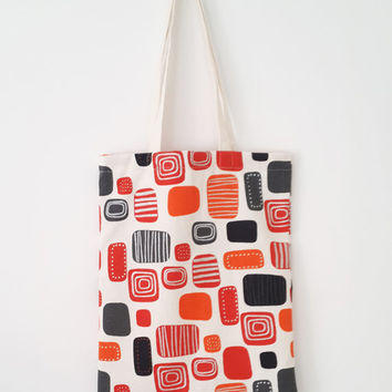 Geometric tote bag, orange reusable shopping bag, canvas beach bag, summer tote