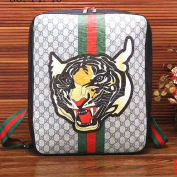 Gotopfashion Gucci Women Fashion Leather Tiger Angry Cat Embroidery School Bookbag Backpack