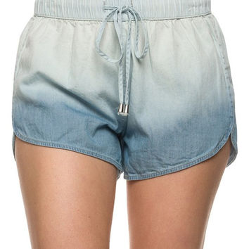 Low Rise Banded Drawstring Waist Ombre DIP-DYE Chambray Cotton Shorts