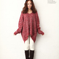 Loose V-neck Pullover Sweater in Two Colors