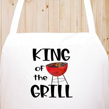 King Of The Grill Chef's Funny Cooking Kitchen Apron , BBQ Grill, Breathable, Machine Washable