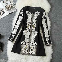 Runway Royal Woman Coat Long Sleeve Black Embroidery Fall Winter S M L XL