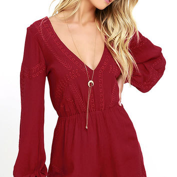 Postcards from Cabo Wine Red Embroidered Romper