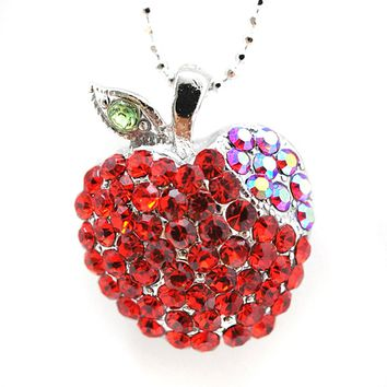 Red Crystal Apple Necklace