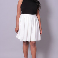 Plus Size Pleated Skirt - Ivory