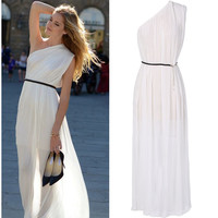One Shoulder Long Solid Pleated Long Dress