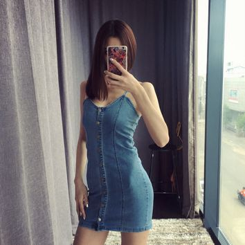 Retro Slim was thin stretch a single row of buttons Dress stretch denim strap dress